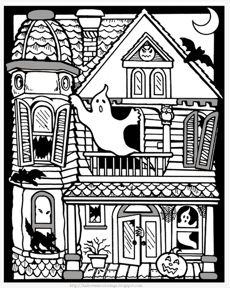 scary halloween house coloring pages - photo#6