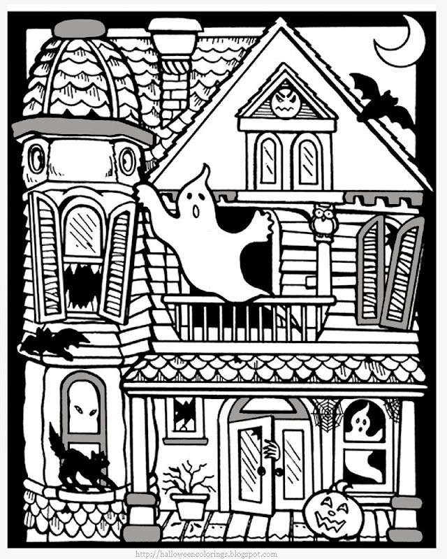 Printable Halloween Haunted House Coloring Pages title=
