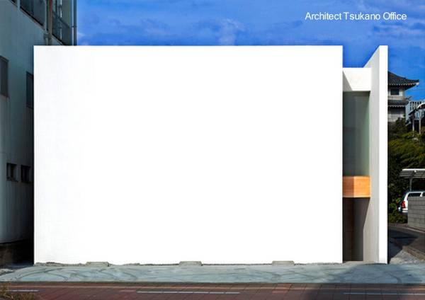 Casa urbana de forma cúbica como caja estilo Minimalista en Japón