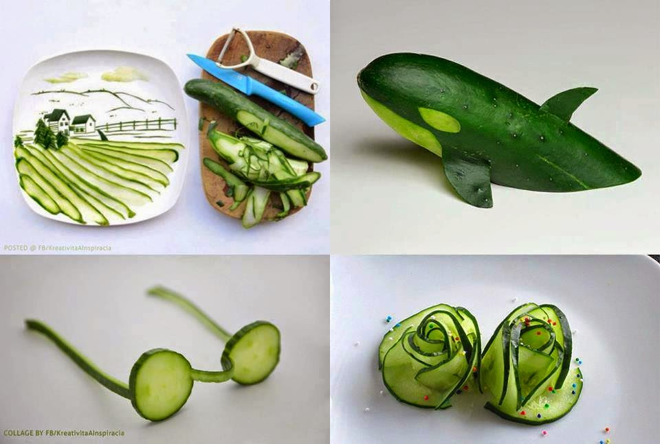 Some amazing decorations on cucumber shapes of a for Art of food decoration