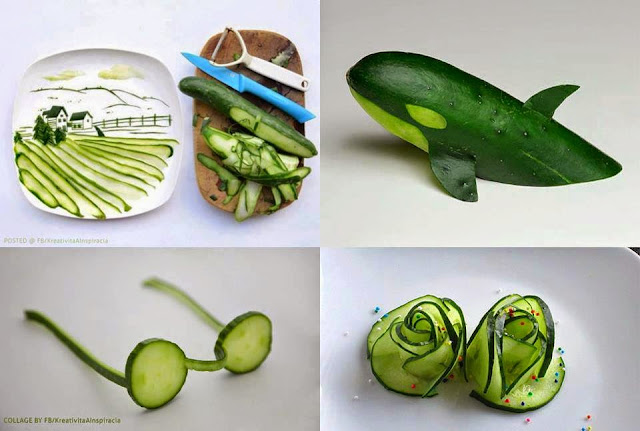 Attractive decoration shapes from cucumber | Dolphin shape made out of cucumber | Spectacles shape in cucumber | natural scene decoration in cucumber | rose flower shape decoration idea from cucumber | Natural food decoration ideas | Creative Cucumber cool decorations
