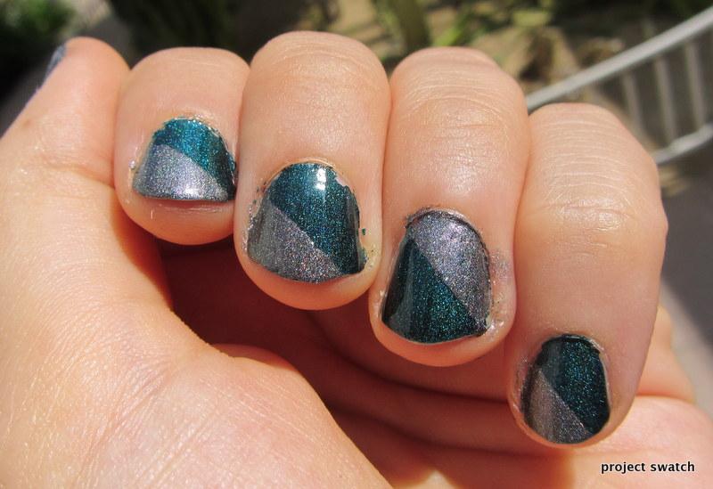Nail Art Ideas For Short Nails Diagonal Color Blocking With A