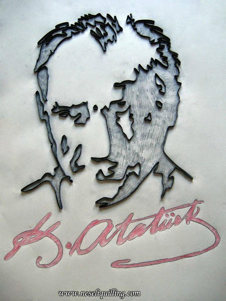 Neşeli Quilling filigran ve petek çalışması Atatürk