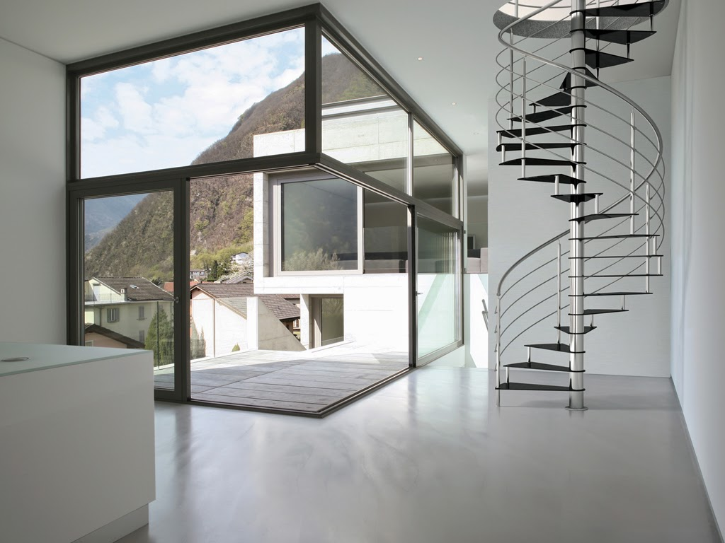 metal spiral stairs with handrails