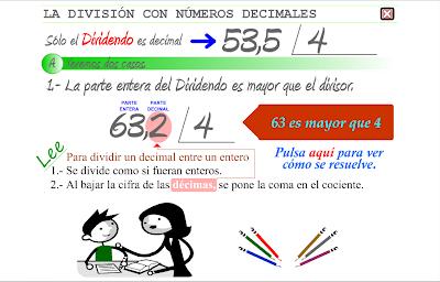 División con decimales,Matemáticas,decimales,numeración
