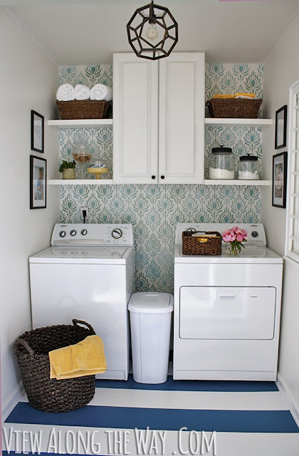 Round up of five inspirational blogger laundry rooms from labelmeorganized.blogspot.com