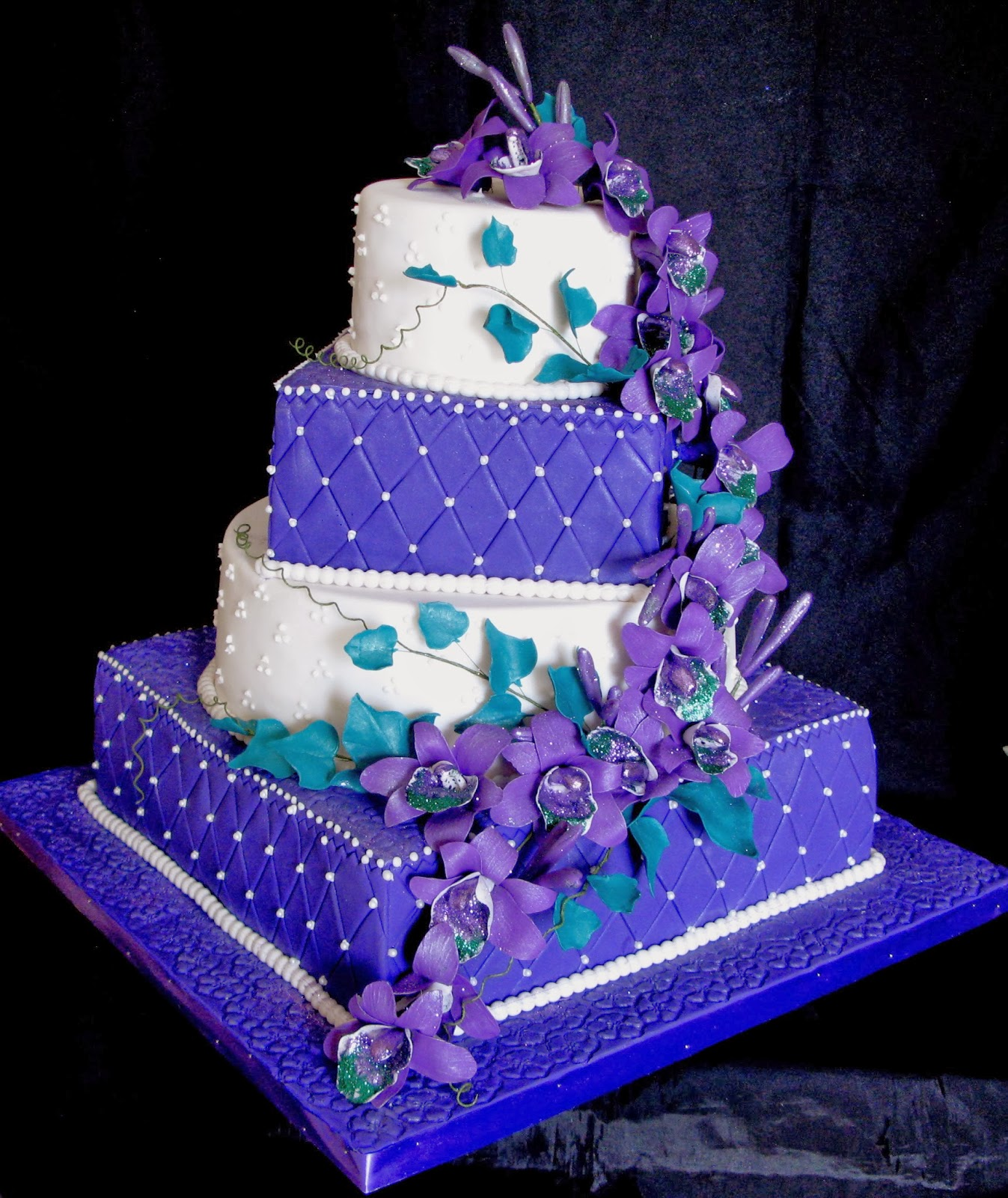 Blue And Purple Orchids Wedding Cake Viewing Gallery