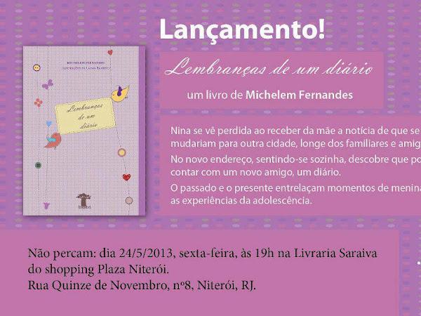 Lançamento em Niterói de Lembranças de  um Diário, Michelem Fernandes e Editora Baobá
