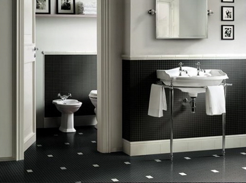 Black  White Bathroom Tile Designs on Amazing Black And White Bathroom Design