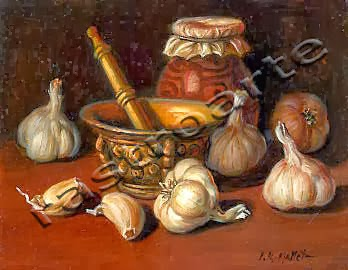 Bodegón de ajos con almirez y tarro de miel