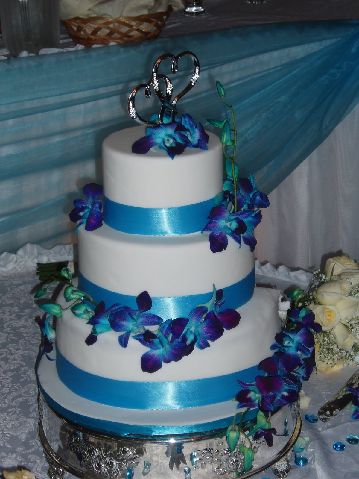 SugarBakers Cake Design Blue Orchid Wedding Cake