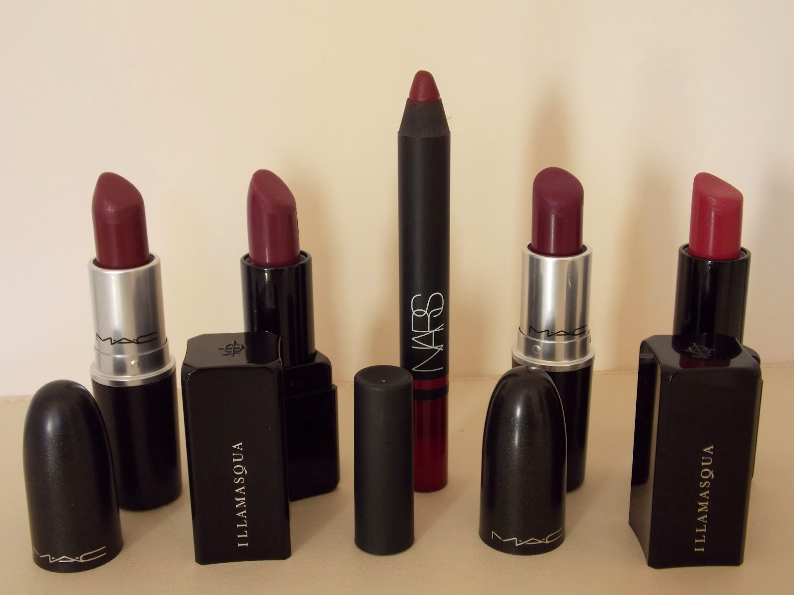 Lipsticks: L-R MAC Dark Side, Illamasqua Shard, Nars Palais Royal, MAC Rebel & Illamasqua Magnetism