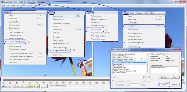 VirtualDub -  definições video e audio
