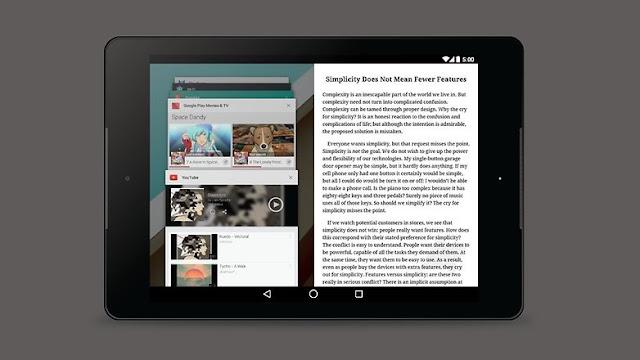 Android N multi-window mode (Menggunakan jendela banyak)