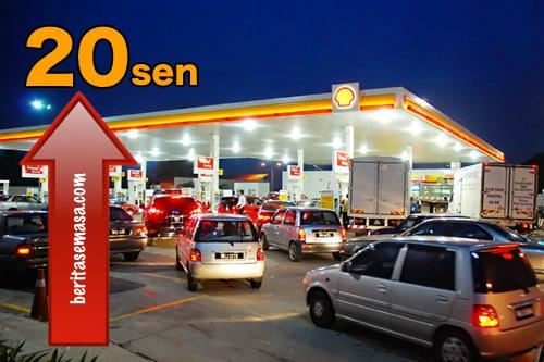 harga, minyak, petrol, diesel, naik, 20 sen, 3 september, 2013