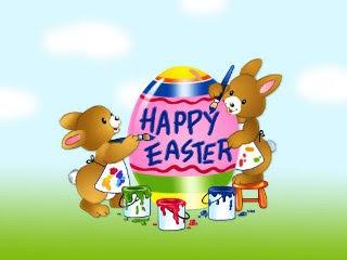 Zečići bojaju Uskrsna jaja, happy Easter čestitka download besplatne pozadine slike za mobitele