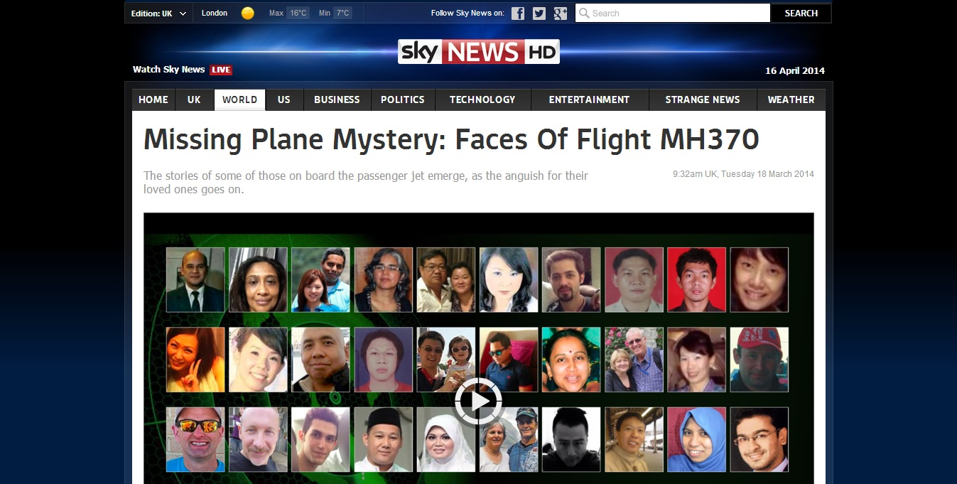 Sky News Article 18.3.14: Missing Plane Mystery: Faces of Flight MH370