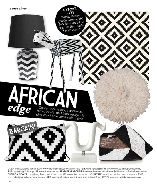 Safari Fusion blog | African edge as featured in Adore Home magazine Aug-Sep 2012 | Safari Fusion Bead Giraffe & White Bamileke Juju Hat