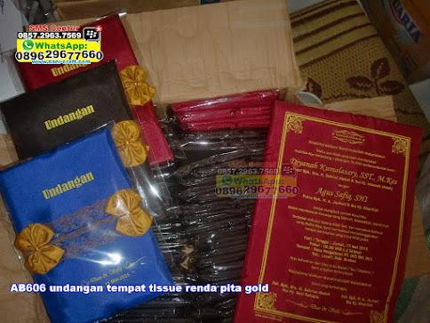 undangan tempat tissue renda pita gold murah
