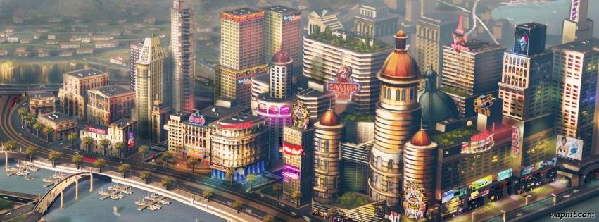 Simcity game concept art 2013 facebook cover photo