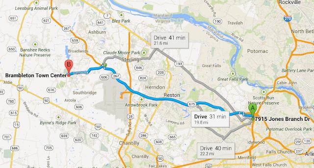 kaartje dat Ashburn en McLean toont