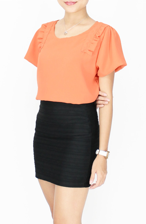 Sweet Ruffle Panel Blouse with Flare Sleeves