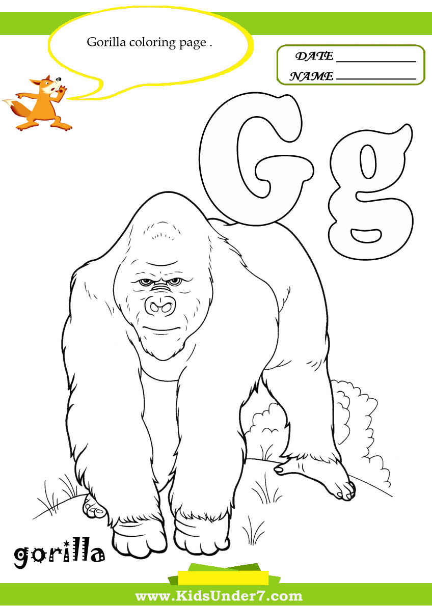 Coloring sheet gorilla - Kids Under 7 Letter G Worksheets And Coloring Pages