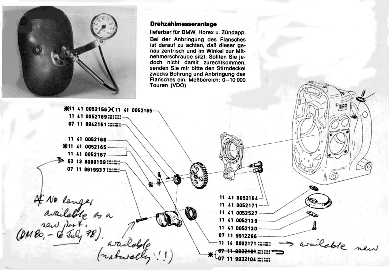 The Velobanjogent VDO motorcycle Instruments for BMW pre 1969 – Rpm On Vdo Gauge Wiring Diagram Magneto