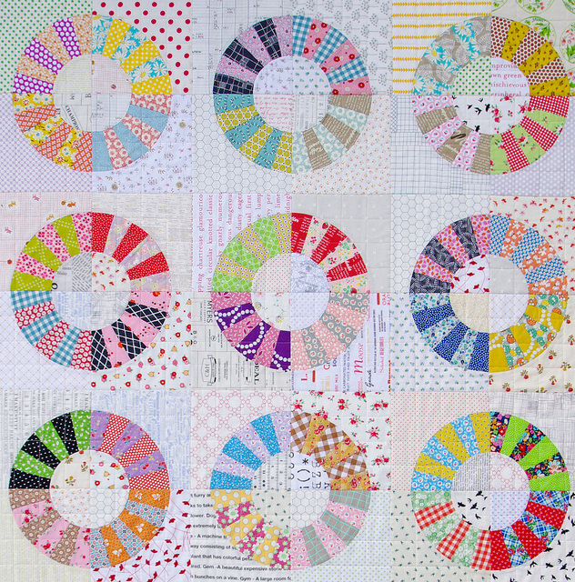 Scrappy Color Wheel Block Quilt | Red Pepper Quilts | Foundation Paper Piecing Pattern and Templates available.