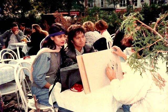 Dilukis Berdua di Mon Martre,  Perancis, 1986, Ikang Fawzi & Marissa Haque, Paris