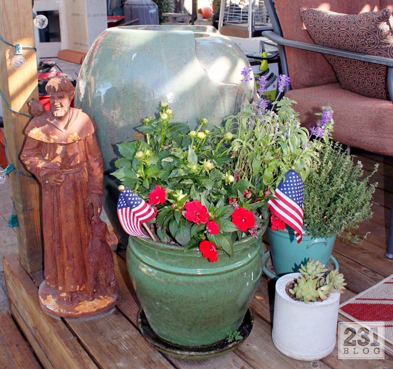 patriotic container garden