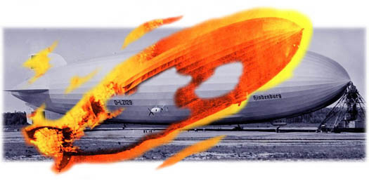 Terrible Troll art: airship Hindenburg at rest on airfield, with image of burning Hindenburg breaking through