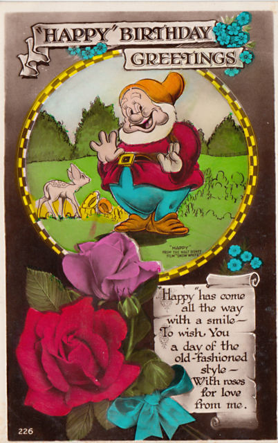 Filmic light snow white archive vintage happy birthday card by happy birthday greetings postcard from valentine sons ltd dundee scotland circa 1938 series no 226 m4hsunfo