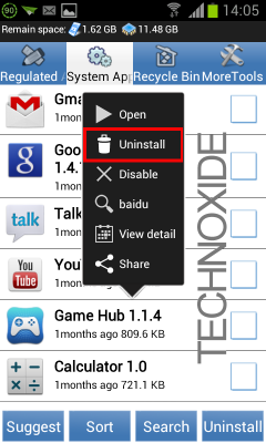 remove android system apps uninstall menu