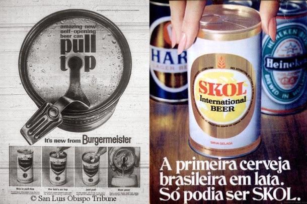 Lata com anel: aparição na Burgermeister (à esq.). No Brasil, estreia com Skol