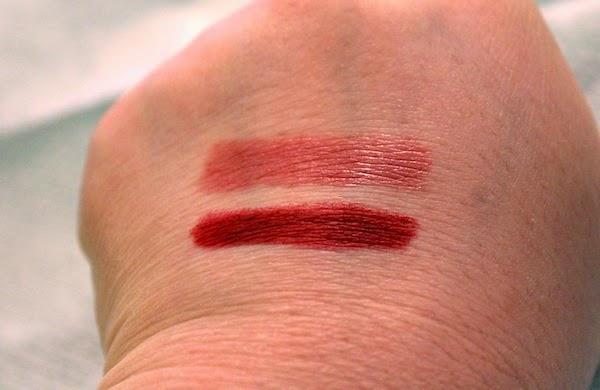 Swatches NARS Satin Lip Pencil In Rikugien Top And Velvet Matte Cruella Bottom