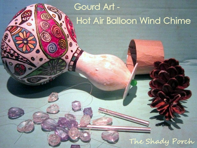 Gourd Art - Hot Air Balloon Wind Chime basket parts #gourd #balloon #chime