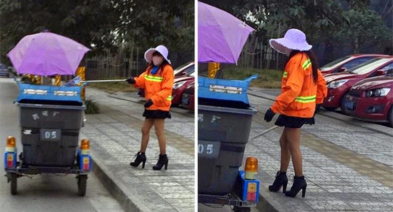 Wanita Pakai Rok Mini Membersihkan Jalan Hebohkan Media Sosial