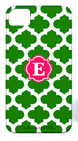 Personalized Pink and Green Preppy Trellis iPhone Case with Initial