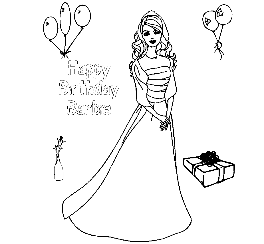 The Free Printable Barbie Coloring Drawing Free wallpaper