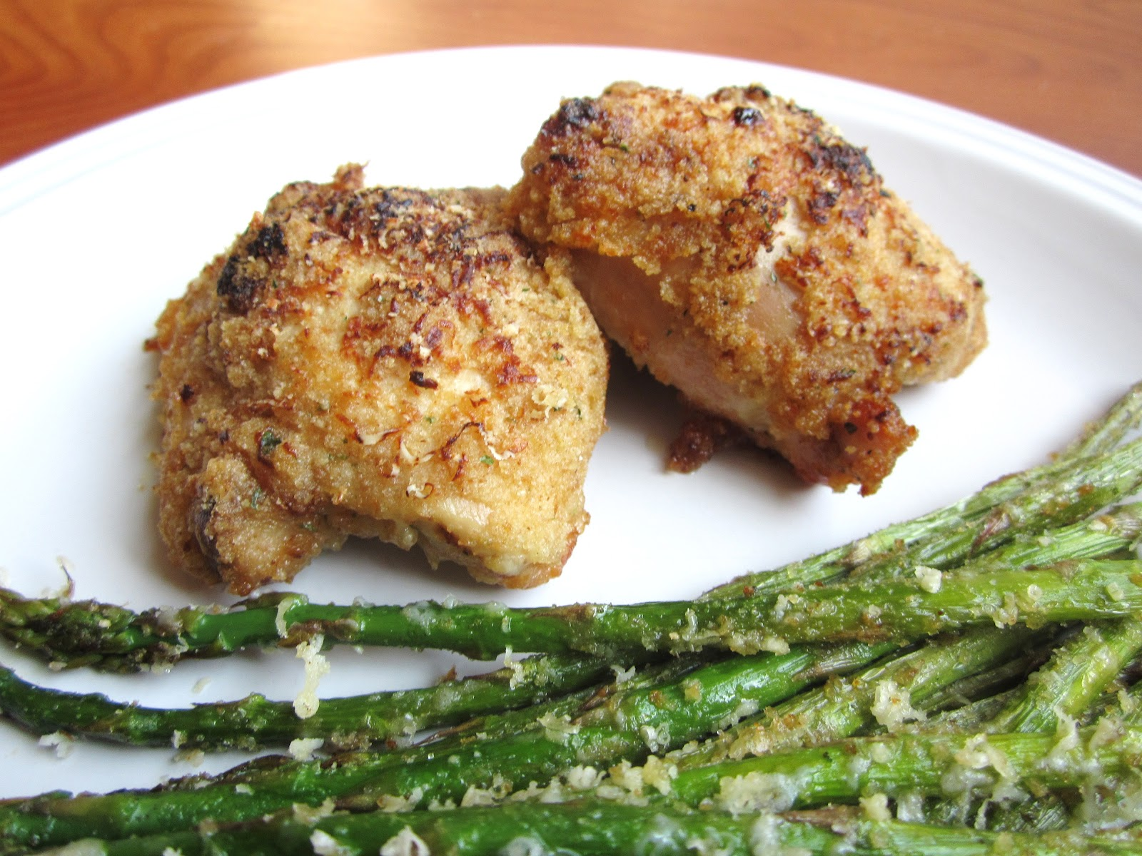 Sue Chef: Honey Baked Chicken Thighs with Parmesan Crusted Asparagus