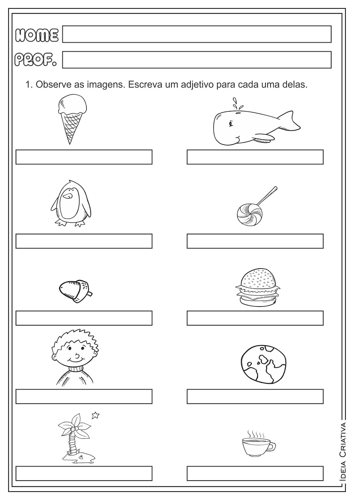 Adjetivo Classe Gramatical Atividade Educativa Ensino Fundamental