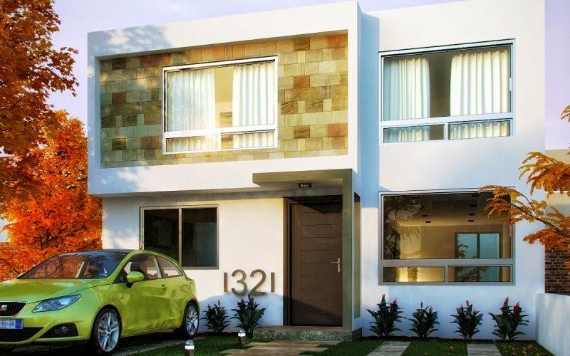 Fachadas de casas modernas fachada contempor nea y - Losetas para fachadas ...