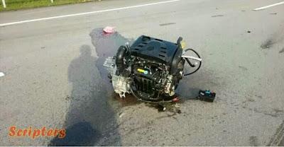 Proton Preve Kemalangan, Enjin Tercampak Keluar!!!