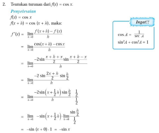 Ada juga Rumus-rumus turunan fungsi trigonometri lainnya adalah