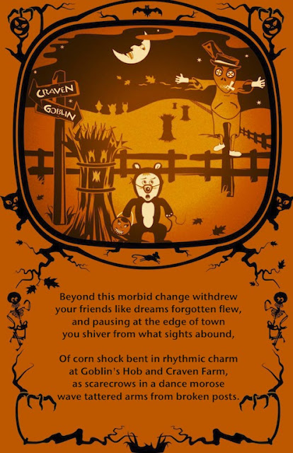 Halloween Poem by Bumble Bindlegrim of The Pumpkin Dream when a Trick-or-Treat Mouse and Jack O'Lantern see a Spooky Scarecrow and signs to Craven Farm