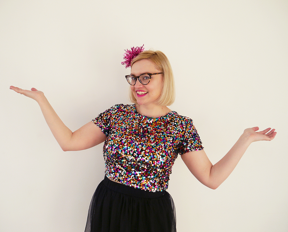 sequin top, tulle ballerina skirt, how to wear a crop top, plus size crop top, DIY christmas party fascinator