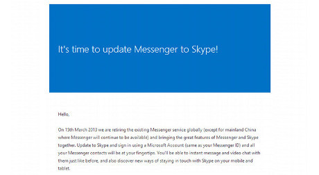 Update Windows Live messenger to Skype