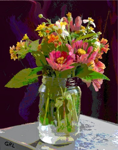 ...an original fine digital painting, WILDFLOWERS AND ZINNIAS IN A JAR.