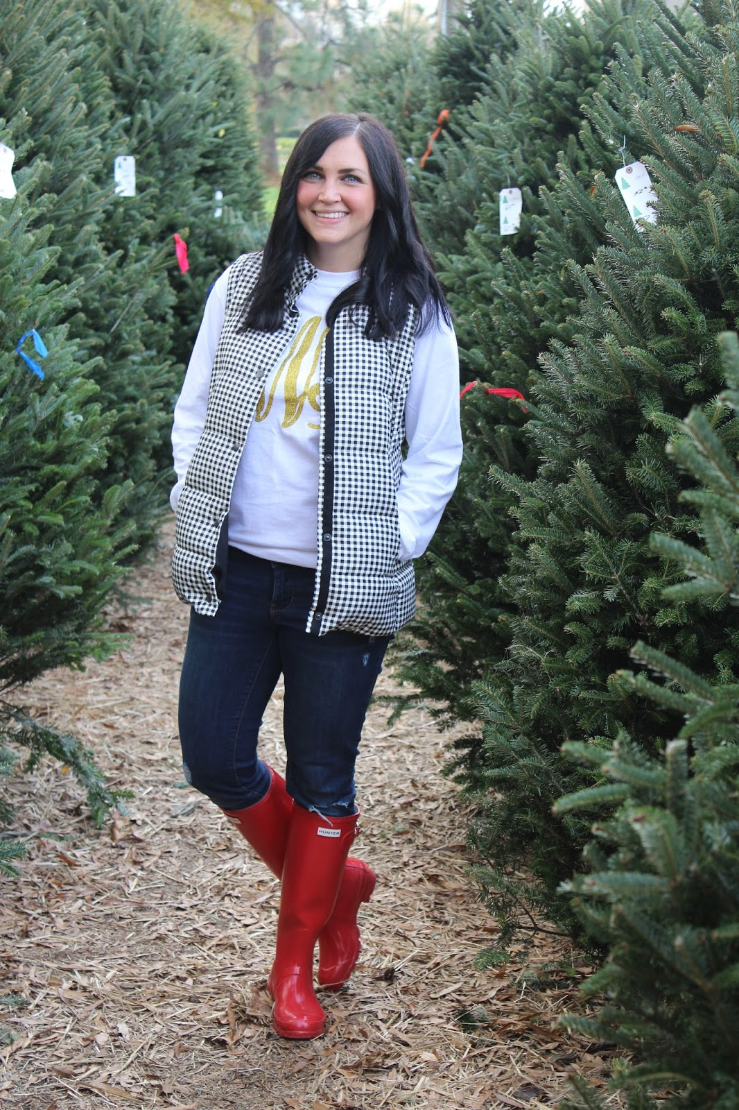 Glitter Monogram tee, black and white plaid vest, red hunter boots